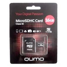 Карта памяти MicroSDHC 16GB QUMO Класс 10 (скорость записи 10МБ/с, обмена данными - 66х, адаптер)