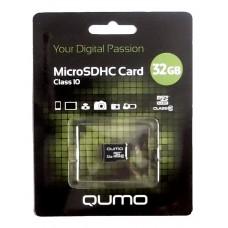 Карта памяти MicroSDHC 32GB QUMO Класс 10 (скорость записи 10МБ/с, обмена данными - 66х