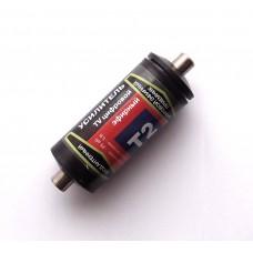 Усилитель антенный врезной дециметровый Т2 на F-разъемах, коэфф. усил. 25 дБ, напряж. питания 5 В